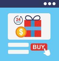 caixa de presente com ícones de tecnologia de compras online vetor