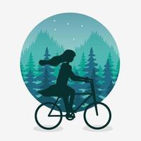 paisagem wanderlust com mulher em cena de bicicleta