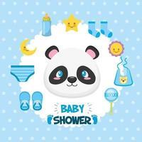 cartão de chá de bebê com lindo urso panda e ícones vetor