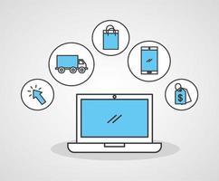 laptop com ícones de tecnologia de compras online vetor
