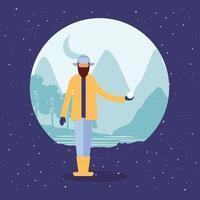 homem barbudo com bola de neve vetor