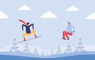 pessoas fazendo atividades ao ar livre no inverno vetor