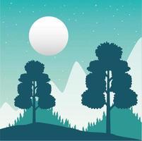 paisagem de floresta com sede de viagens e lua cheia