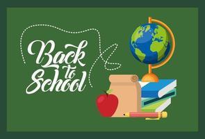 cartaz de volta às aulas com quadro-negro e suprimentos vetor