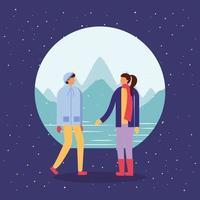 casal fazendo atividades ao ar livre na neve vetor