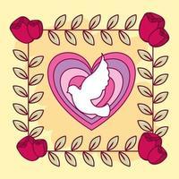 cartão de feliz dia dos namorados com coração e pomba