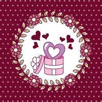 design do dia dos namorados com caixa de presente fofa vetor