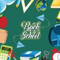cartaz de volta às aulas com fundo de suprimentos vetor