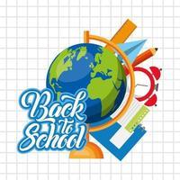 cartaz de volta às aulas com materiais escolares vetor