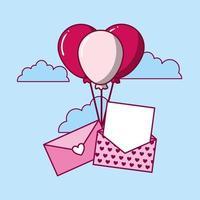 desenho de dia dos namorados com envelope e balões