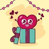 desenho do dia dos namorados com caráter de coração vetor