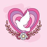 cartão de feliz dia dos namorados com coração e pomba vetor