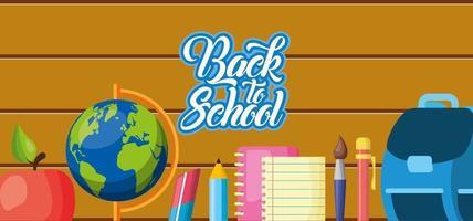 faixa de volta às aulas com materiais escolares vetor