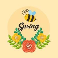 Olá cartaz de primavera com flores e abelha voando vetor