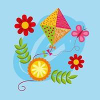 Olá cartaz de primavera com flores e pipa voando vetor