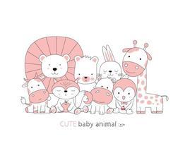 estilo desenhado à mão. desenho animado esboçar a postura fofa animais bebê vetor