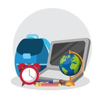 cartaz de volta às aulas com laptop e suprimentos vetor