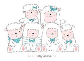 ovelhas em fundo branco. estilo desenhado à mão vetor