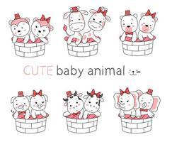 o desenho animado animal bebê fofo com cesta em fundo branco. estilo desenhado à mão vetor