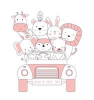 esboço dos desenhos animados de animais bebê fofo no carro. estilo desenhado à mão. vetor