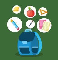 cartaz de volta às aulas com mochila e material vetor