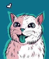 vetor de gatinho branco com a língua verde de fora
