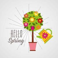 Olá pôster de primavera com árvore
