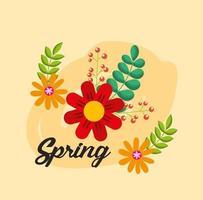 Olá pôster primavera com decoração floral