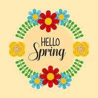 Olá pôster primavera com guirlanda floral