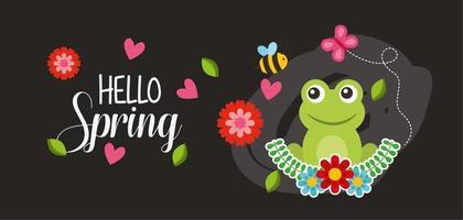 Olá cartaz de primavera com sapo e insetos voando vetor