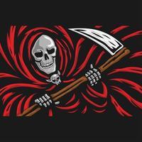 crânio do ceifador com o logotipo da foice vetor