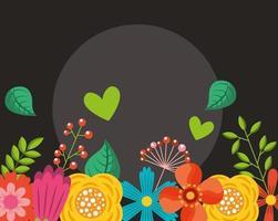 Olá pôster primavera com moldura floral
