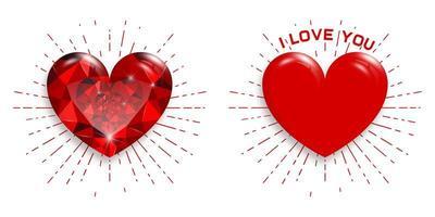 grandes corações vermelhos em fundo branco. rubi vermelho. feliz Dia dos namorados.
