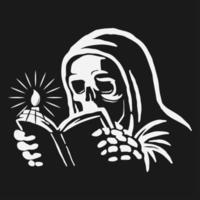 crânio vestindo manto lendo um livro com vela ao lado vetor