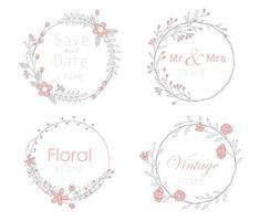 conjunto de cartas com molduras florais. conceito de ornamento de casamento. vetor
