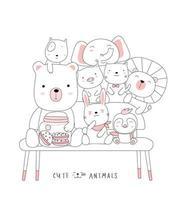 desenhos animados animais bebê fofo em uma cadeira. estilo desenhado à mão. vetor