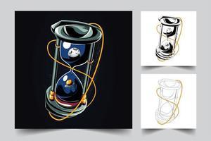 ilustração da arte do temporizador de ampulheta vetor