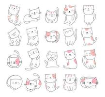estilo desenhado à mão gato bonito branco animal cartoon vetor