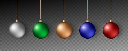 bolas de natal coloridas. conjunto de decorações realistas. vetor
