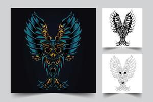 ilustração de arte de coruja escura vetor