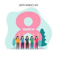 8 de março projeto fundo feliz dia internacional da mulher vetor