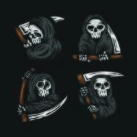 conjunto de crânio ceifador com o logotipo da foice vetor