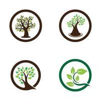 conjunto de design de imagens de logotipo de árvore vetor