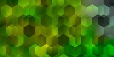 pano de fundo de vetor verde e amarelo claro com hexágonos.