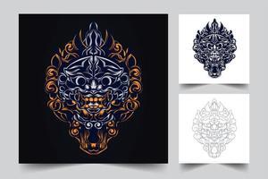 arte da cultura indonésio vetor
