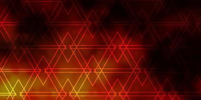 layout de vetor de laranja escuro com linhas, triângulos.