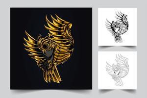 arte de ornamento de coruja vetor
