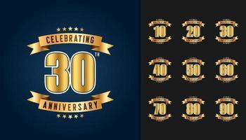 conjunto de logotipo de aniversário vetor