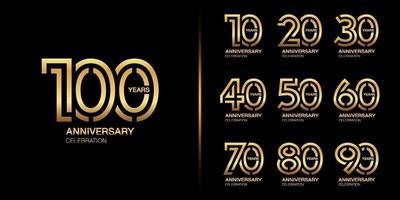 conjunto de design de emblema de celebração de aniversário de ouro vetor