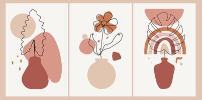 conjunto de arte de linha floral contínua com estilo de arte boho abstrata